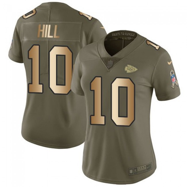 Women's Chiefs #10 Tyreek Hill Olive Gold Stitched NFL Limited 2017 Salute to Service Jersey