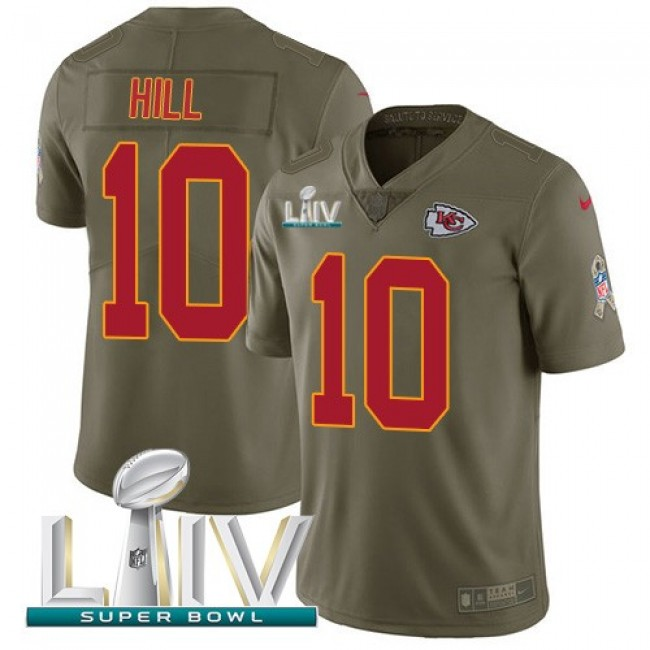 Nike Chiefs #10 Tyreek Hill Olive Super Bowl LIV 2020 Men's Stitched NFL Limited 2017 Salute To Service Jersey