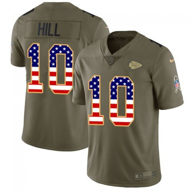 Kansas City Chiefs #10 Tyreek Hill Olive-USA Flag Youth Stitched NFL Limited 2017 Salute to Service Jersey