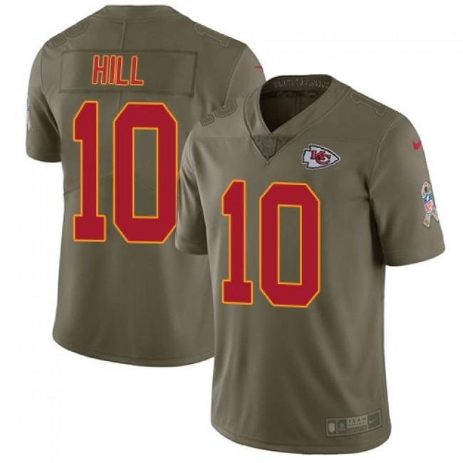 Kansas City Chiefs #10 Tyreek Hill Olive Youth Stitched NFL Limited 2017 Salute to Service Jersey