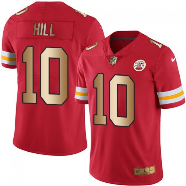 Nike Chiefs #10 Tyreek Hill Red Men's Stitched NFL Limited Gold Rush Jersey