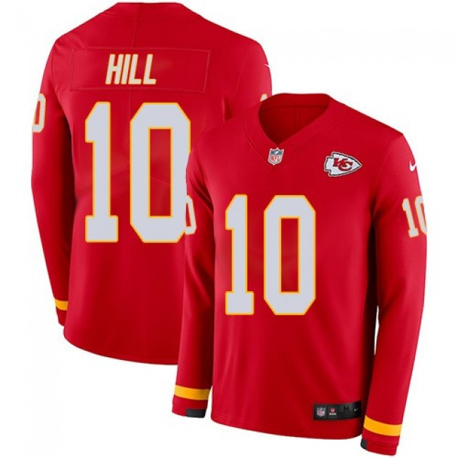 Nike Chiefs #10 Tyreek Hill Red Team Color Men's Stitched NFL Limited Therma Long Sleeve Jersey