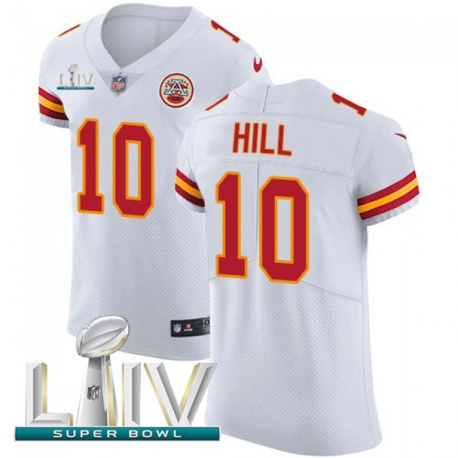 Nike Chiefs #10 Tyreek Hill White Super Bowl LIV 2020 Men's Stitched NFL New Elite Jersey