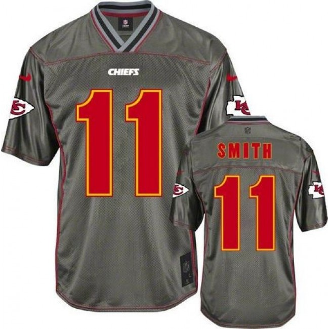 Kansas City Chiefs #11 Alex Smith Grey Youth Stitched NFL Elite Vapor Jersey