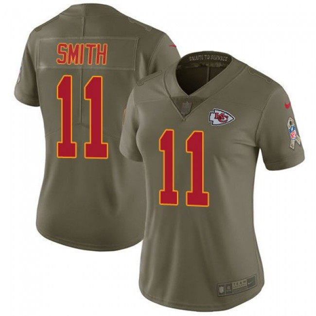 Women's Chiefs #11 Alex Smith Olive Stitched NFL Limited 2017 Salute to Service Jersey