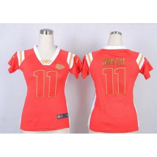 Women's Chiefs #11 Alex Smith Red Team Color Stitched NFL Elite Draft Him Shimmer Jersey