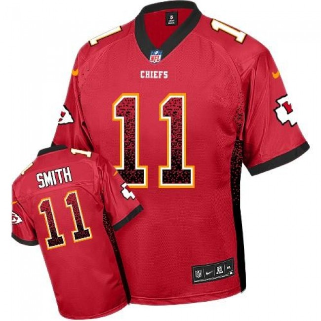 Kansas City Chiefs #11 Alex Smith Red Team Color Youth Stitched NFL Elite Drift Fashion Jersey