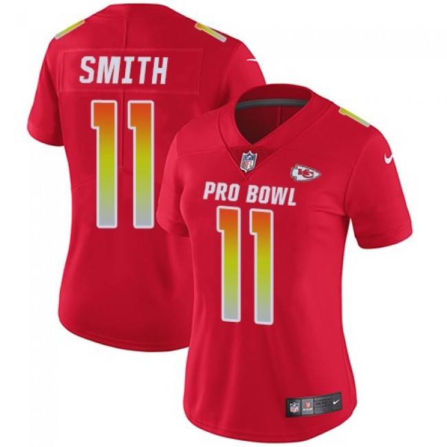 Women's Chiefs #11 Alex Smith Red Stitched NFL Limited AFC 2018 Pro Bowl Jersey