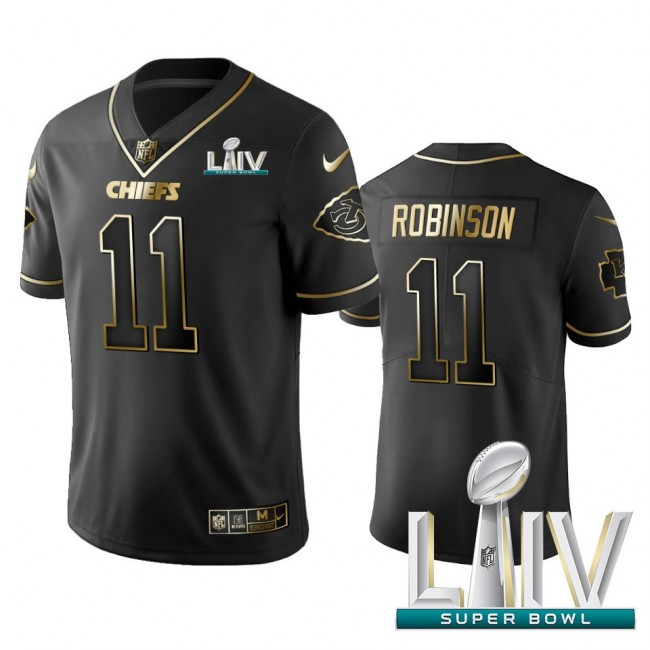 Nike Chiefs #11 Demarcus Robinson Black Golden Super Bowl LIV 2020 Limited Edition Stitched NFL Jersey