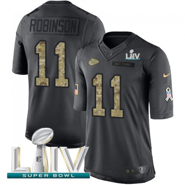 Nike Chiefs #11 Demarcus Robinson Black Super Bowl LIV 2020 Men's Stitched NFL Limited 2016 Salute to Service Jersey