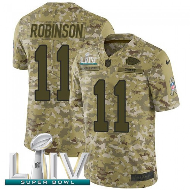 Nike Chiefs #11 Demarcus Robinson Camo Super Bowl LIV 2020 Men's Stitched NFL Limited 2018 Salute To Service Jersey