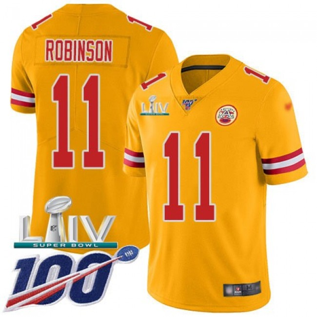 Nike Chiefs #11 Demarcus Robinson Gold Super Bowl LIV 2020 Men's Stitched NFL Limited Inverted Legend 100th Season Jersey