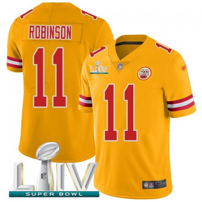 Nike Chiefs #11 Demarcus Robinson Gold Super Bowl LIV 2020 Men's Stitched NFL Limited Inverted Legend Jersey