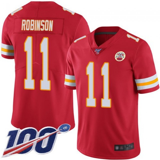 Nike Chiefs #11 Demarcus Robinson Red Team Color Men's Stitched NFL 100th Season Vapor Limited Jersey