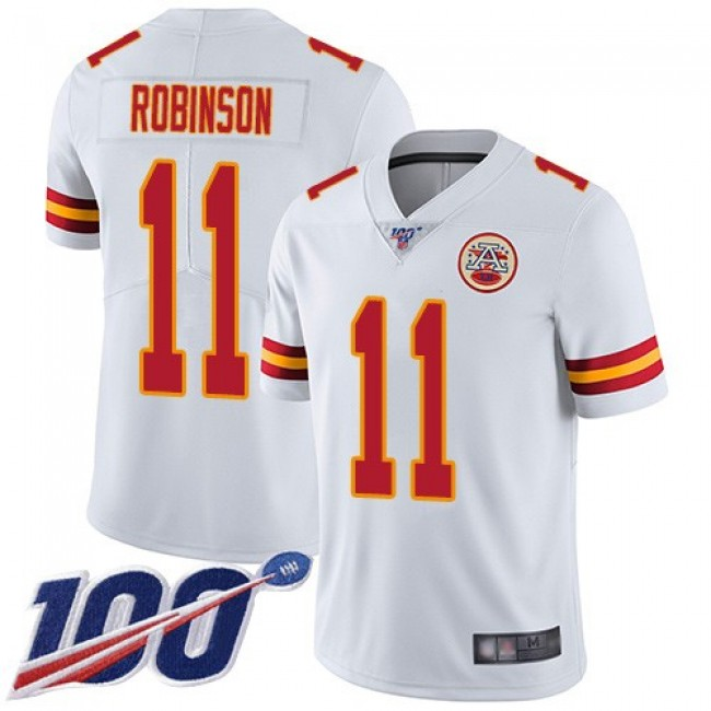 Nike Chiefs #11 Demarcus Robinson White Men's Stitched NFL 100th Season Vapor Limited Jersey