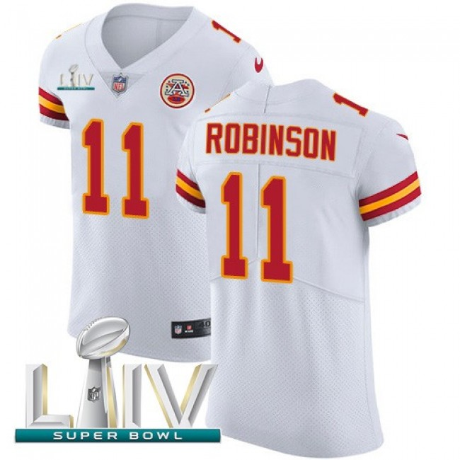 Nike Chiefs #11 Demarcus Robinson White Super Bowl LIV 2020 Men's Stitched NFL New Elite Jersey