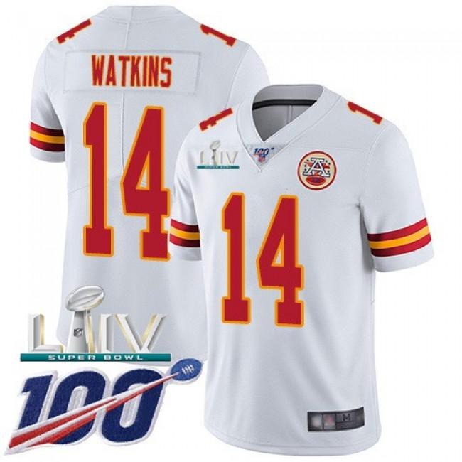 Nike Chiefs #14 Sammy Watkins White Super Bowl LIV 2020 Men's Stitched NFL 100th Season Vapor Untouchable Limited Jersey