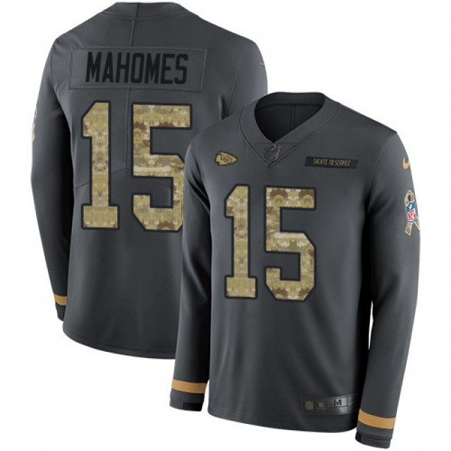 Nike Chiefs #15 Patrick Mahomes Anthracite Salute to Service Men's Stitched NFL Limited Therma Long Sleeve Jersey