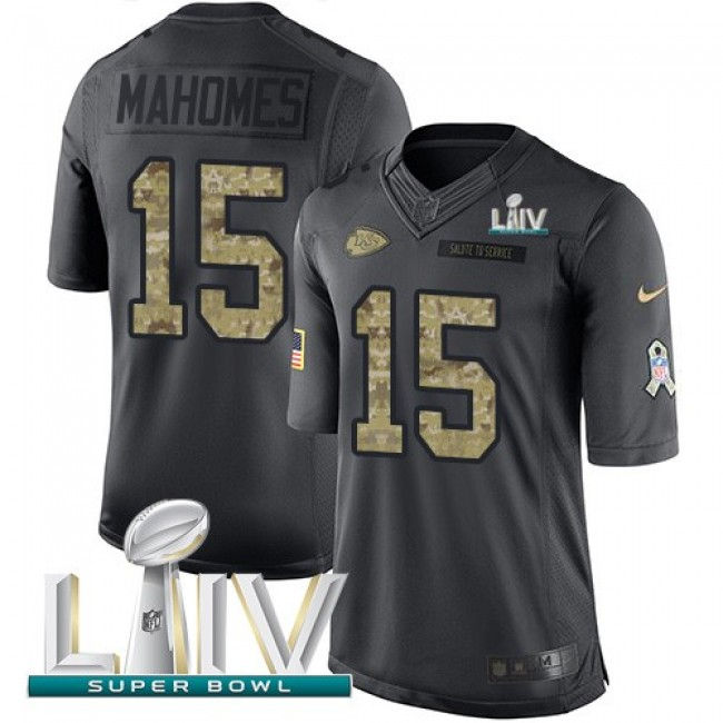 Nike Chiefs #15 Patrick Mahomes Black Super Bowl LIV 2020 Men's Stitched NFL Limited 2016 Salute to Service Jersey