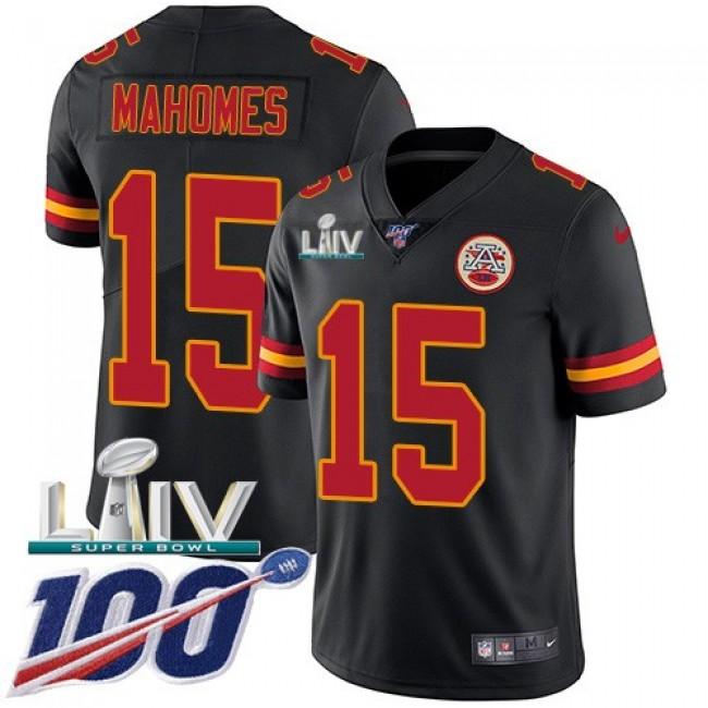 Nike Chiefs #15 Patrick Mahomes Black Super Bowl LIV 2020 Men's Stitched NFL Limited Rush 100th Season Jersey