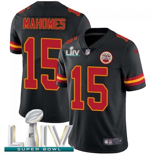 Nike Chiefs #15 Patrick Mahomes Black Super Bowl LIV 2020 Men's Stitched NFL Limited Rush Jersey