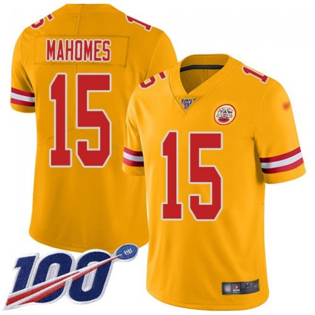 Nike Chiefs #15 Patrick Mahomes Gold Men's Stitched NFL Limited Inverted Legend 100th Season Jersey