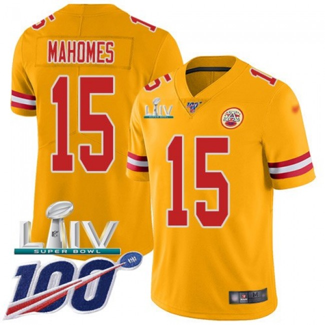 Nike Chiefs #15 Patrick Mahomes Gold Super Bowl LIV 2020 Men's Stitched NFL Limited Inverted Legend 100th Season Jersey