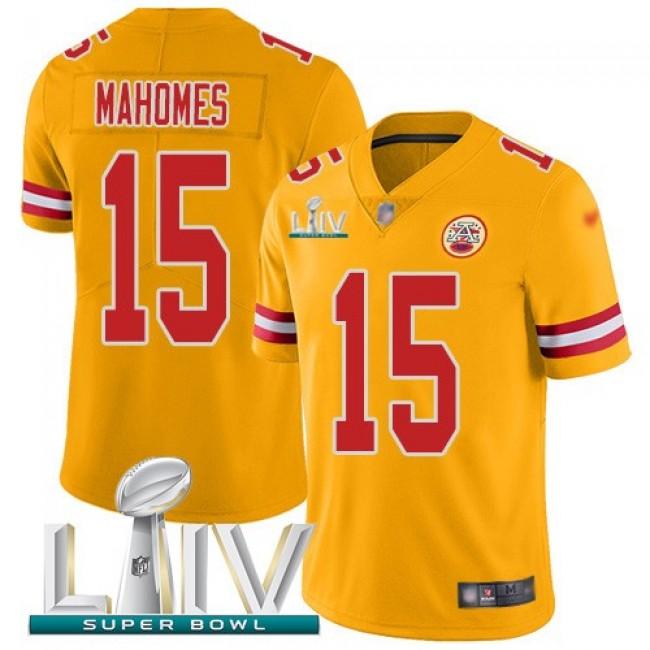 Nike Chiefs #15 Patrick Mahomes Gold Super Bowl LIV 2020 Men's Stitched NFL Limited Inverted Legend Jersey