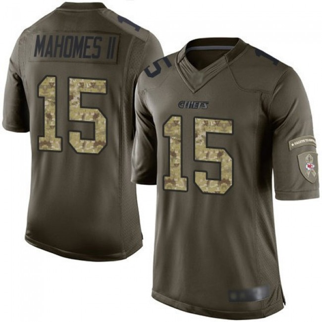 Nike Chiefs #15 Patrick Mahomes Green Men's Stitched NFL Limited 2015 Salute to Service Jersey