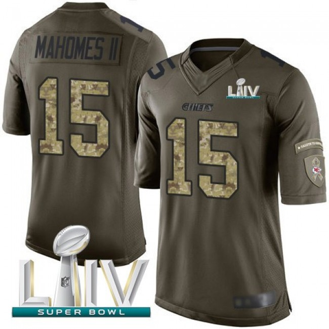 Nike Chiefs #15 Patrick Mahomes Green Super Bowl LIV 2020 Men's Stitched NFL Limited 2015 Salute to Service Jersey