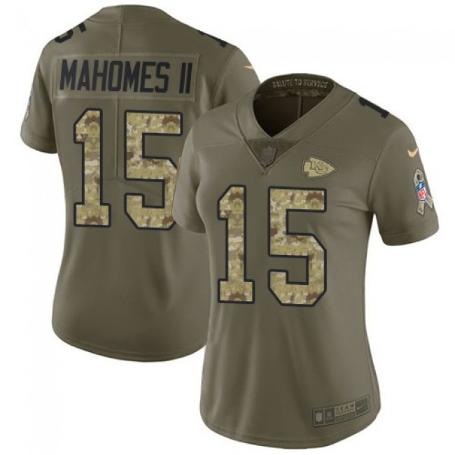 Women's Chiefs #15 Patrick Mahomes II Olive Camo Stitched NFL Limited 2017 Salute to Service Jersey