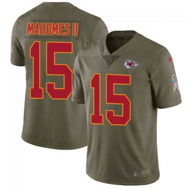 Kansas City Chiefs #15 Patrick Mahomes II Olive Youth Stitched NFL Limited 2017 Salute to Service Jersey