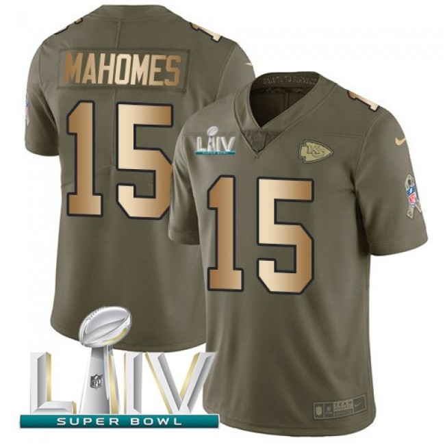 Nike Chiefs #15 Patrick Mahomes Olive/Gold Super Bowl LIV 2020 Men's Stitched NFL Limited 2017 Salute To Service Jersey