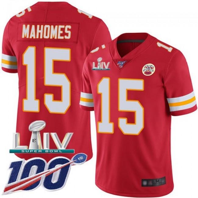 Nike Chiefs #15 Patrick Mahomes Red Super Bowl LIV 2020 Team Color Men's Stitched NFL 100th Season Vapor Untouchable Limited Jersey