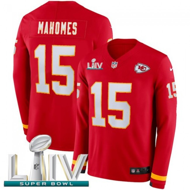Nike Chiefs #15 Patrick Mahomes Red Super Bowl LIV 2020 Team Color Men's Stitched NFL Limited Therma Long Sleeve Jersey