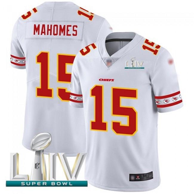 Nike Chiefs #15 Patrick Mahomes White Super Bowl LIV 2020 Men's Stitched NFL Limited Team Logo Fashion Jersey