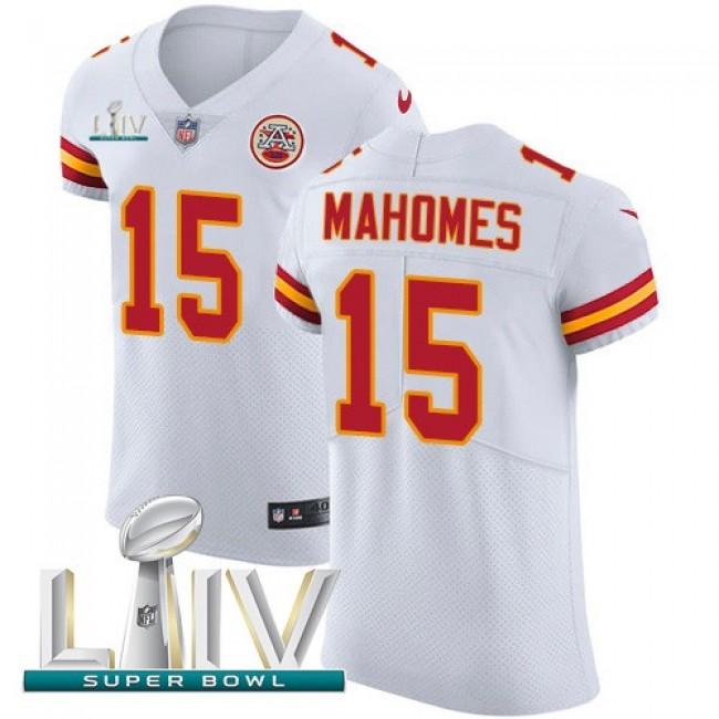Nike Chiefs #15 Patrick Mahomes White Super Bowl LIV 2020 Men's Stitched NFL New Elite Jersey