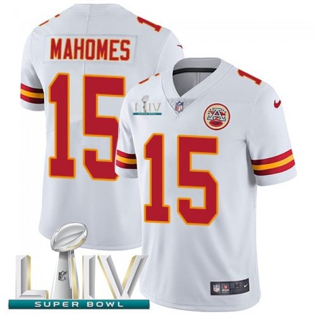 Nike Chiefs #15 Patrick Mahomes White Super Bowl LIV 2020 Men's Stitched NFL Vapor Untouchable Limited Jersey