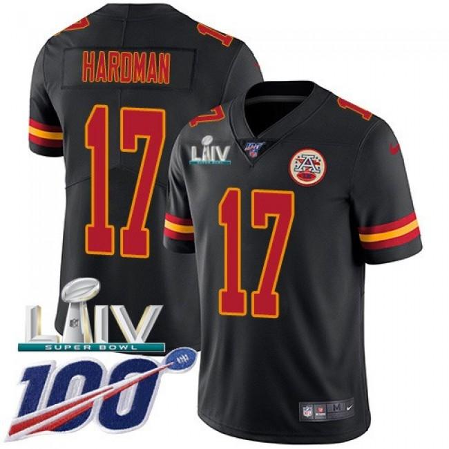 Nike Chiefs #17 Mecole Hardman Black Super Bowl LIV 2020 Men's Stitched NFL Limited Rush 100th Season Jersey