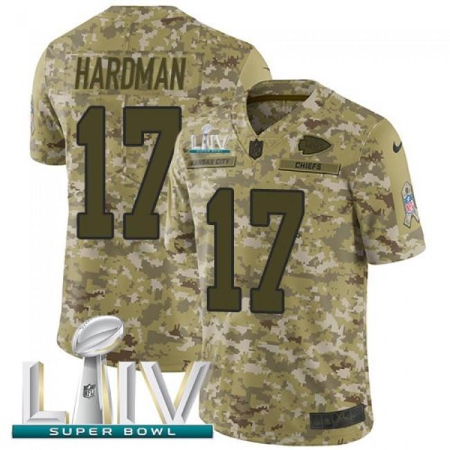 Nike Chiefs #17 Mecole Hardman Camo Super Bowl LIV 2020 Men's Stitched NFL Limited 2018 Salute To Service Jersey