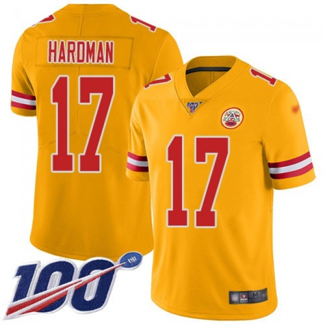 Nike Chiefs #17 Mecole Hardman Gold Men's Stitched NFL Limited Inverted Legend 100th Season Jersey