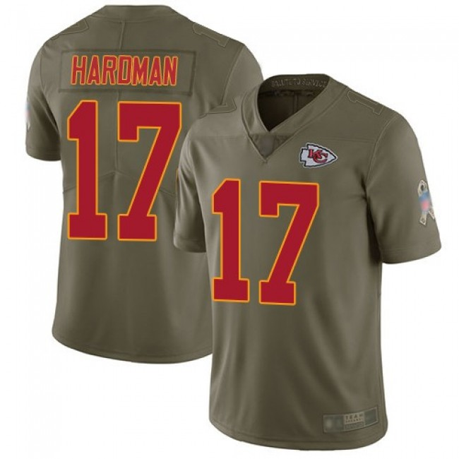 Nike Chiefs #17 Mecole Hardman Olive Men's Stitched NFL Limited 2017 Salute to Service Jersey