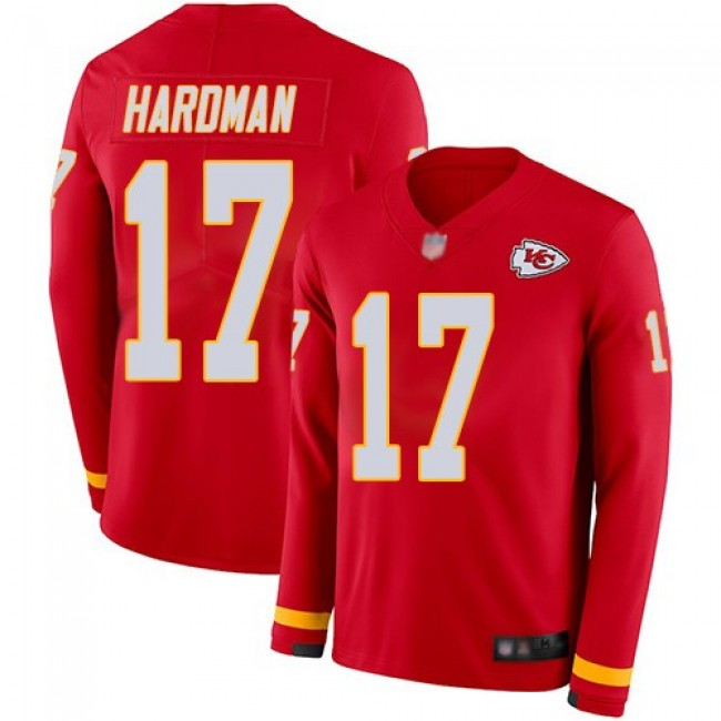 Nike Chiefs #17 Mecole Hardman Red Team Color Men's Stitched NFL Limited Therma Long Sleeve Jersey