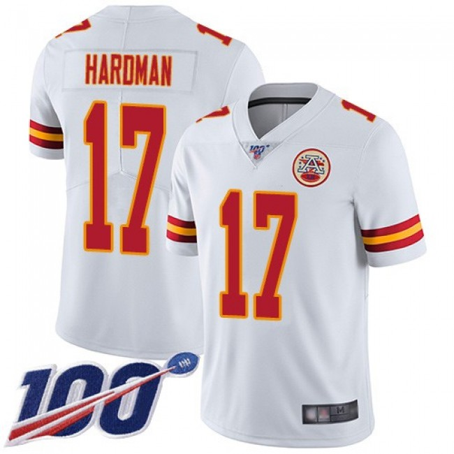 Nike Chiefs #17 Mecole Hardman White Men's Stitched NFL 100th Season Vapor Limited Jersey