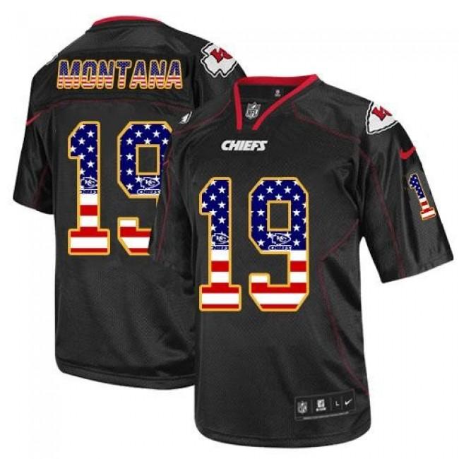Nike Chiefs #19 Joe Montana Black Men's Stitched NFL Elite USA Flag Fashion Jersey