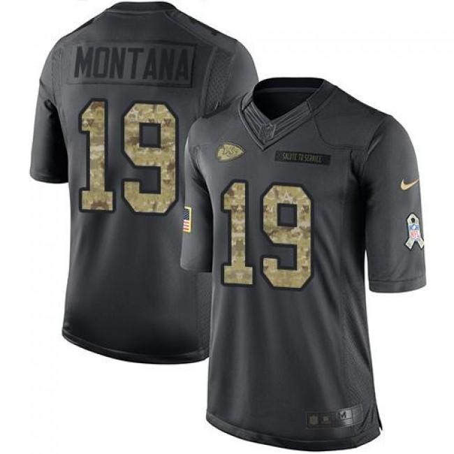 Nike Chiefs #19 Joe Montana Black Men's Stitched NFL Limited 2016 Salute to Service Jersey