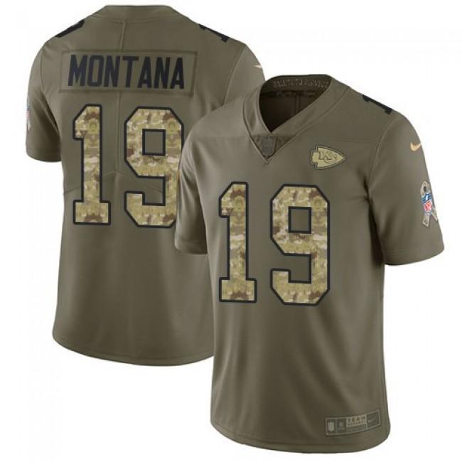 Nike Chiefs #19 Joe Montana Olive/Camo Men's Stitched NFL Limited 2017 Salute To Service Jersey