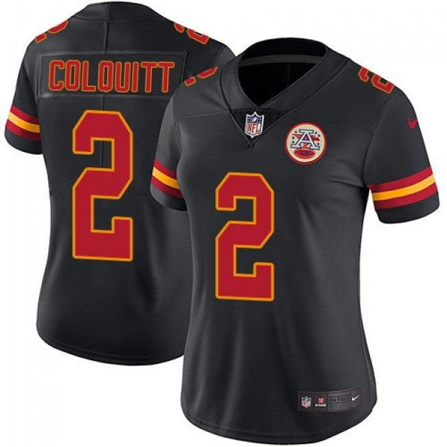 Women's Chiefs #2 Dustin Colquitt Black Stitched NFL Limited Rush Jersey