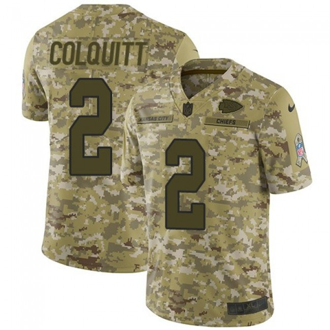 Nike Chiefs #2 Dustin Colquitt Camo Men's Stitched NFL Limited 2018 Salute To Service Jersey