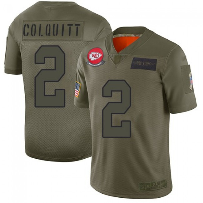 Nike Chiefs #2 Dustin Colquitt Camo Men's Stitched NFL Limited 2019 Salute To Service Jersey